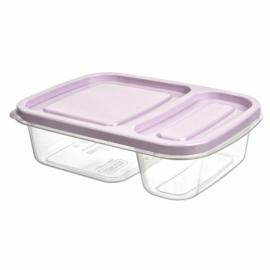műanyag téglalap alakú osztott ételtároló doboz szilikon tömítéssel 1,1 literes szürke - 21382 Hobby life Smart BPA mentes