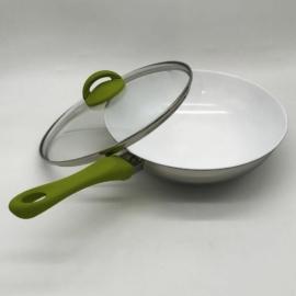 kerámia bevonatos indukciós wok üvegedővel 28cm Mepra Ecoceram Oliva -106246