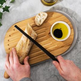bambusz vágódeszka kínáló tálca ovális 39x23cm + tálka - BergHOFF Leo Bamboo 261004
