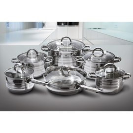 rozsdamentes indukciós edénykészlet üvegfedővel 12 részes - Blaumann Gourmet Line BL-1410