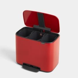 pedálos szelektív szemetes 3 x 11 literes piros - 121029 Brabantia Bo Bin 3 rekeszes
