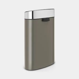 falra tolható nyomásra nyíló rozsdamentes szemetes 40 literes platina színben matt chrom tetővel - 114885 Brabantia New Icon Touch Bin
