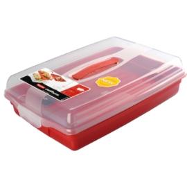 Curver 2in1 műanyag süteményhordozó és kínáló bordó - CU540
