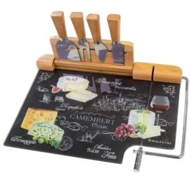Easy life üveg sajttál bambusz eszköztartóval kés készlettel - 153268