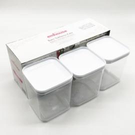 műanyag légmentes tárolódoboz szett 3 x 1 liter