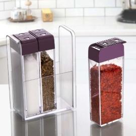 Emhouse műanyag 3 részes fűszeradagoló tartóval lila - EP701