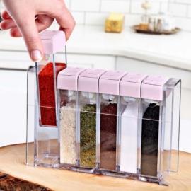 Emhouse műanyag 6 részes fűszeradagoló tartóval rózsaszín - EP700