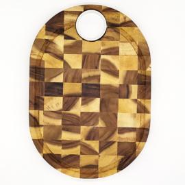 Fa előételes / vágódeszka, vastag, porcelán tálkával 40 x 28 x 3 cm - 210092