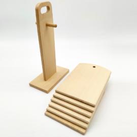 Fa szalonnázó készlet 6 db deszka + állvány - 302057