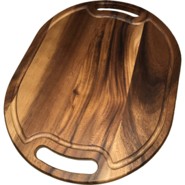 Fa vágódeszka ovális 30 x 40 cm fogós - 210002