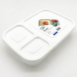 műanyag téglalap alakú osztott ételtároló doboz szilikon tömítéssel 1,1 literes fehér - 21382 Hobby life Smart BPA mentes