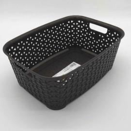 Hobby life műanyag rattan hatású téglalap alakú kosárka 26 cm barna - 41251