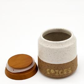 Kő kerámia fűszertartó fa vákumfedővel 9,5 cm 25 cl