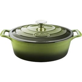 La Cuisine Green öntöttvas ovál sütőtál 29 cm 4,75l fedővel - 432027