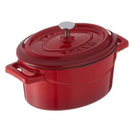 Lava Mini piros öntöttvas lábas ovál 12 cm 0,42 liter fedővel