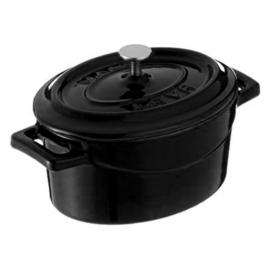 Lava Mini öntöttvas lábas ovál 12 cm 0,42 liter + fedő fekete