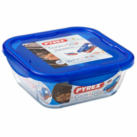 hőálló sütőtál és ételhordó műanyag fedővel 21x21 cm Pyrex Cook And Go szögletes - 203210