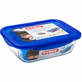 hőálló sütőtál és ételhordó műanyag fedővel 30x23 cm - 203208 Pyrex Cook And Go téglalap alakú