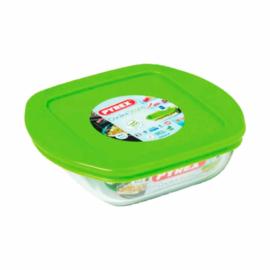 szögletes hőálló sütőtál műanyag fedővel 20 x 17 cm 1 liter - 203133,