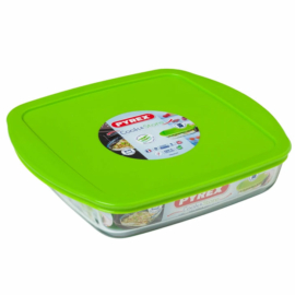 hőálló sütőtál műanyag fedővel 25x22 cm Pyrex szögletes,
