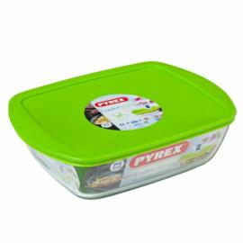 sütőbe helyezhető sütőtál műanyag fedővel 28x20 cm 2,6 liter - 203134 Pyrex Cook & Store szögleteshőálló,