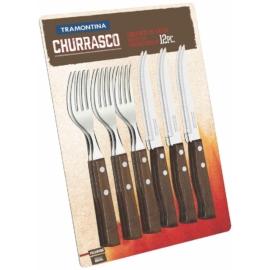 fanyelű evőeszköz készlet 6 recés kés és 6 evővilla Tramontina Tradicional
