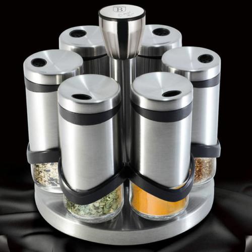 forgó fűszertartó 6 darab üveg fűszertartóval - Berlinger Haus Moonlight rozsdamentes acél BH-1991