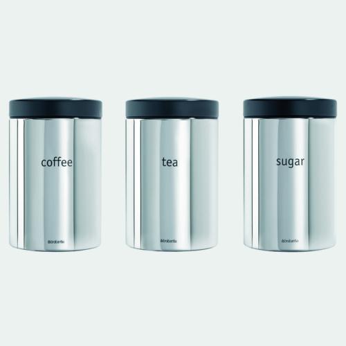 aromazárós tároló szett 3 x 1,4 liter Brilliant Steel színben - Brabantia 204166