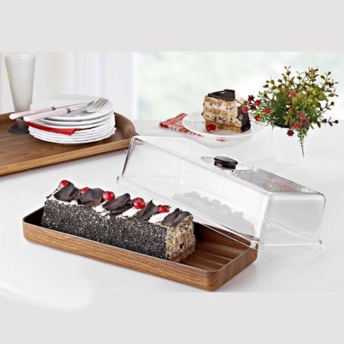 Evelin fa mintázatú műanyag kenyér és tortatál búrával - 287017
