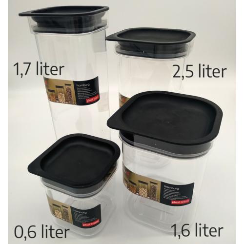 átlátszó műanyag fűszertartó, vákumzáras 1,7 liter - 5173 Plast team Hamburg