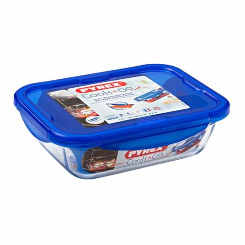 hőálló sütőtál és ételhordó műanyag fedővel 24x18 cm - 203207 Pyrex Cook And Go téglalap alakú